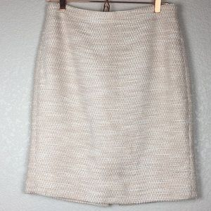 J. Crew The Pencil Skirt Pink White Silver Lined 8